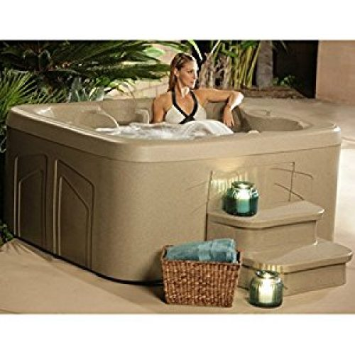 4 Person Hot Tub with 20 Stainless Steel Jet Plug & Play Spa Waterfall, LED Color Lighting, LCD Control, Rock...