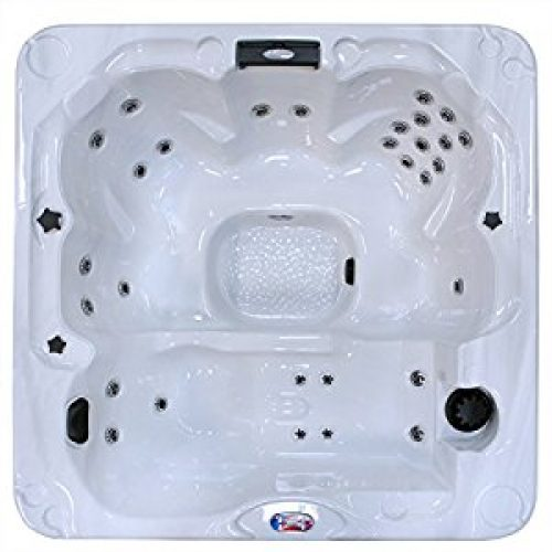 American Spas AM-730LS 6-Person 30-Jet Lounger Spa with Backlit LED Waterfall, Sterling and Smoke