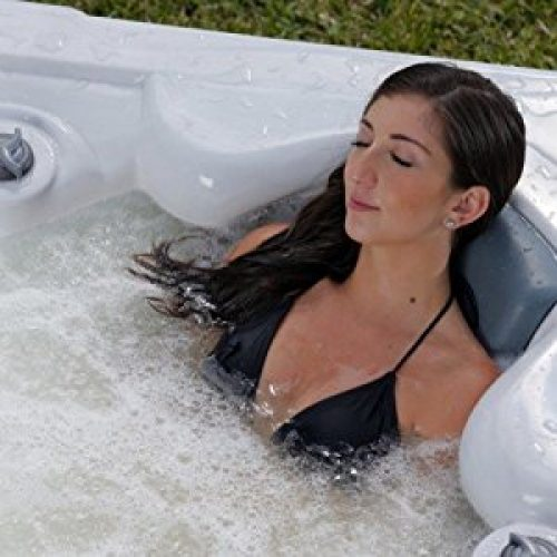 Spa Plug n Play 4 Person Hot Tub LED 23 Jets (Sterling shell-Mocha cabinet) (Tuscan Sun shell - grey cabinet)