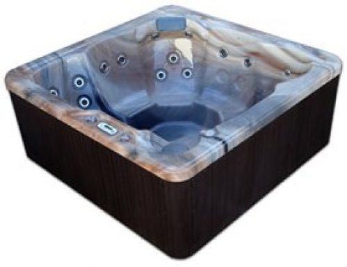 Spa Plug n Play 6 Person Hot Tub LED - 29 Stainless Jets (Tuscan Sun shell/Coastal Grey cabinet)