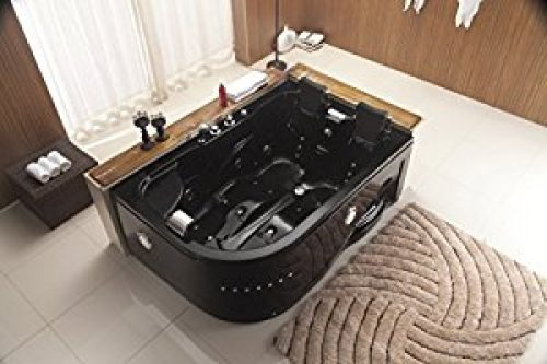 Two 2 Person Whirlpool Massage Hydrotherapy Black Corner Bathtub Tub with FREE Remote Control and Water Heater